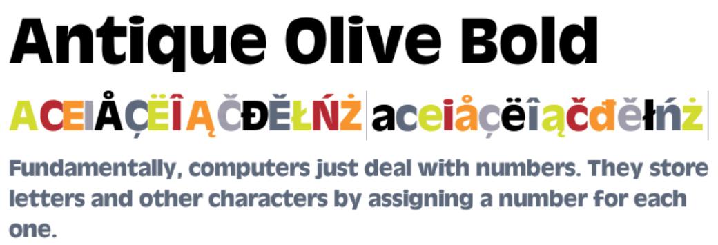 ANtique Olive Bold Font