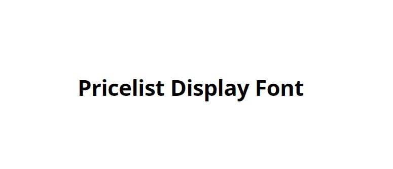 Pricelist Display Font