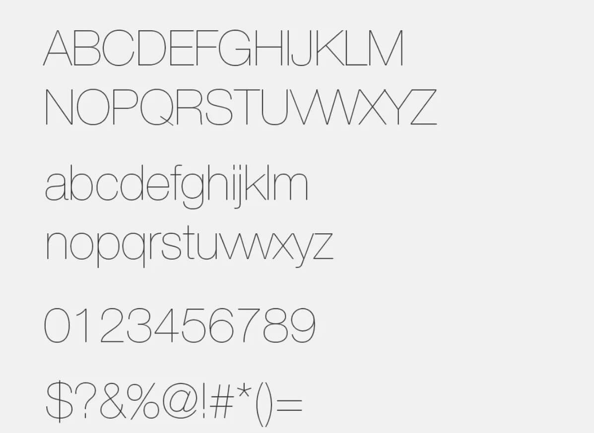 Lowvetica Ultra Thin - Helvetica Neue Font Free Alternatives