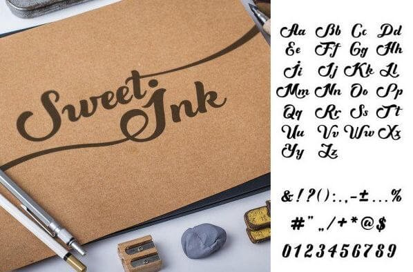 sweet ink font - Sweet Ink Calligraphy Font Free Download