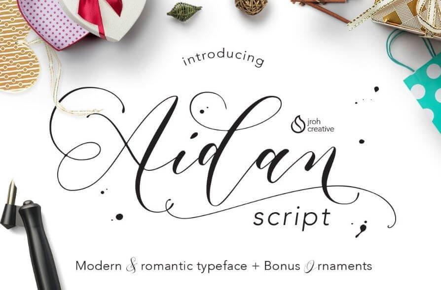 aidan script font - Aidan Romantic Script Free Download