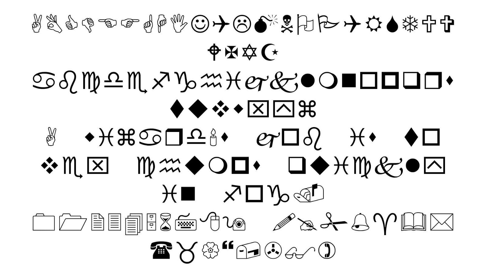 Wingdings Font View - Wingdings Font Free Download